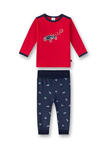 Sanetta Baby-Jungen Pyjama Zweiteiliger Schlafanzug, Rot (Karmesin 3101), 74 (Herstellergröße: 074)