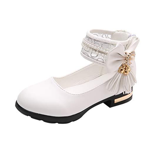 Kleinkind Sommer Schuhe/Dorical Mädchen Sommer Mode Tanzschuhe Ballerinas Sandalen mit Quaste Perle Bowknot Lauflernschuhe Kinder Prinzessin Casual Fashion Party Schuhe 27-35 EU(Weiß,32 EU)