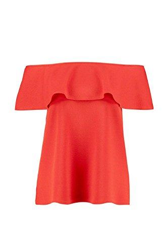 Rouge Femmes Hazel Crêpe volanté Off The Shoulder Top Rouge