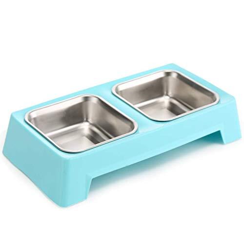 Tiernahrungsschüssel Pet Supplies Edelstahl Schüssel Doppel Bowl, erhöhte Katze und Hundefutter Bowl Bowl 1 Schüssel Dual Zweck Haustierdiätwasser (Color : Blue) -