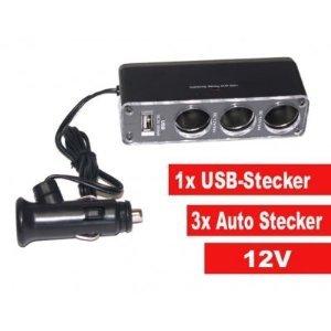 +++HOT +++ 1x USB + 3Fach 12V Auto Zigarettenanzünder Verteiler KFZ-Steckdose für GPS, Kamera, PSP, USB, CD PLAYER, PDA, Handys