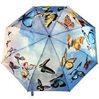 Galleria Auto Folding Umbrella - Swirling Butterflies