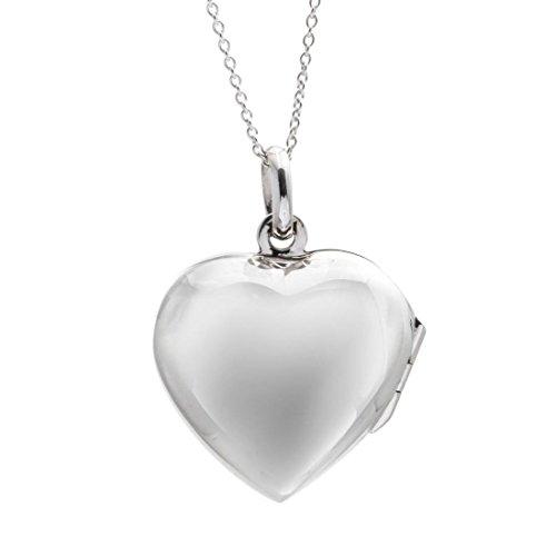 Silverly Argent 925 Collier Femme Coeur Médaillon qui s'ouvre 46 cm