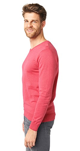 TOM TAILOR Basic V-Neck Sweater, Pull Homme Rose (Summer Blossom Rose Melange)