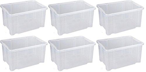 Home & Style 6X 27l Dreh Stapelbox 44 x 35 x 24, Aufbewahrungsbox Box Lagerbox Mulitbox Kiste Plastikbox