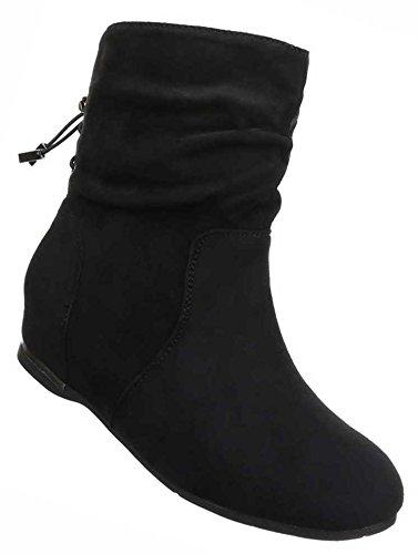 Damen Boots Schuhe Wedges Keil Stiefeletten Schwarz Grau Braun 36 37 38 39 40 41 Schwarz