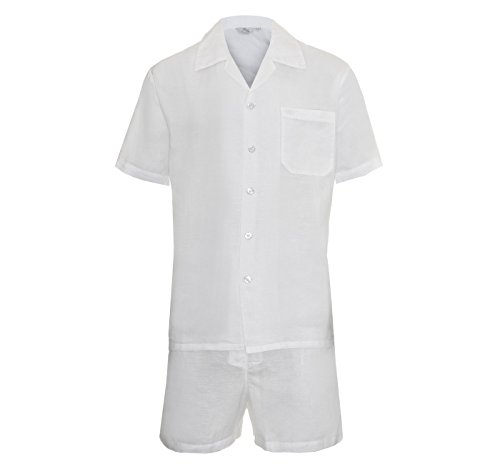 Herren Zweiteiliger Schlafanzug Anzug Kurz, Nachtwäsche Klassisches Maßgeschneidertes Modell in Schwarz - Blau - Weiß Leinen / Baumwolle Geschenk Boxed Größe S - XL (Anzug Klassische, Maßgeschneiderte)