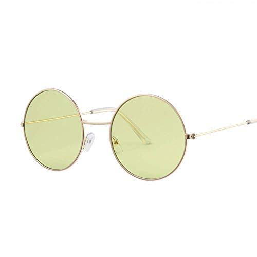 GAOHAITAO Round Sunglasses Women Ocean Color Lens Mirror Sunglasses Female Design Metal Frame Circle Glasses Uv400,Gold Green