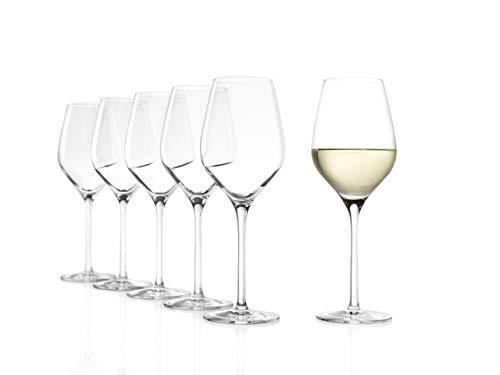 Stölzle Lausitz Exquisit Royal Weißweinkelche, 350 ml, 6er Set, spülmaschinenfest: Edle Weingläser für Weißweine, elegant und erlesen