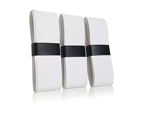 Kellago 3X langlebige Profi Griffbänder mit starker Griffigkeit in weiß [Overgrips für Tennis-Schläger Badminton-Schläger und Squash-Schläger/Racket ]