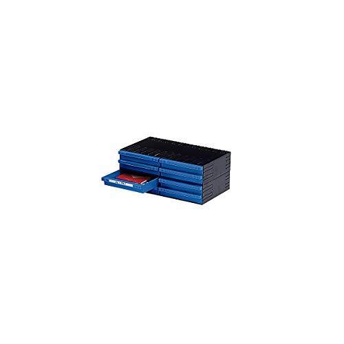 Plastipol-Scheu Kombi-Schubladensystem aus Polystyrol - mit 8 Schubladen 225 mm - blau - Kleinteilemagazin Kleinteileregal Lagersystem Regal für Kleinteile Schublade Schubladenmagazin Schubladensystem