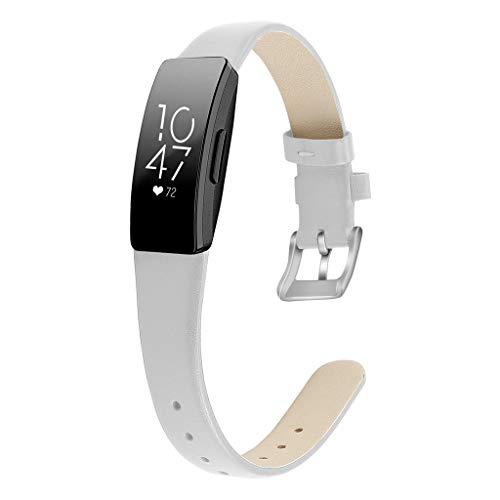 WAOTIER für Fitbit Inspire HR Armband Leder Armband Kompatibel für Fitbit Inspire Armband und für Fitbit Inspire HR mit Edelstahl Verschluss Glättender Weicher Leder Armband Retro Armband (Weiß)