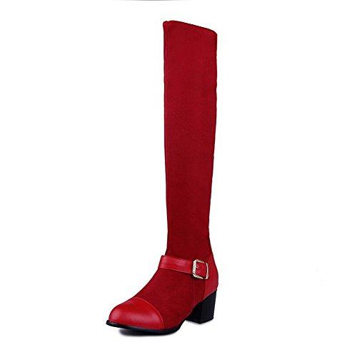 AgooLar Damen Blend-Materialien Rund Zehe Metall Schnalle Mittler Absatz Stiefel Rot