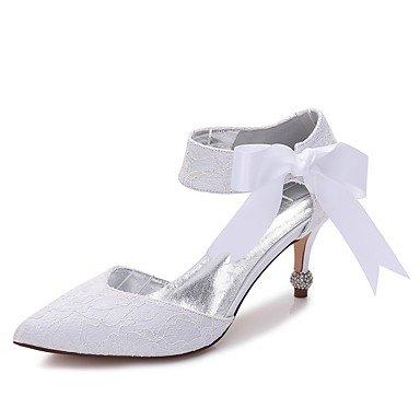 Wuyulunbi@ Scarpe donna raso Pizzo Primavera Estate Comfort scarpe matrimonio Punta di raso Bowknot fiore per party di nozze & abito da sera Noi6.5-7 / EU37 / UK4,5-5 / CN37