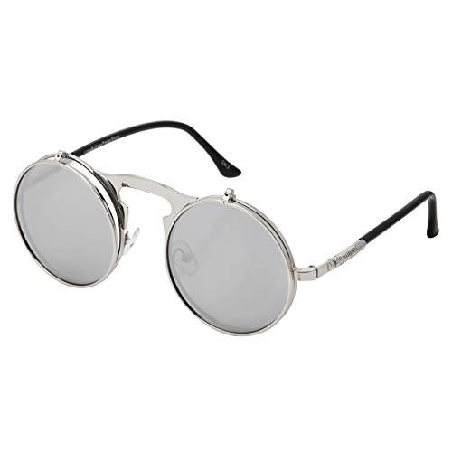 Silber mit Verspiegelten Silbergläsern Flip Up Circle Steampunk Sonnenbrille Hochwertige Brille Retro Runde Cyber   Vintage Viktorianische Gotik UV400 UVA UVB Schutz Männer Frauen Unisex