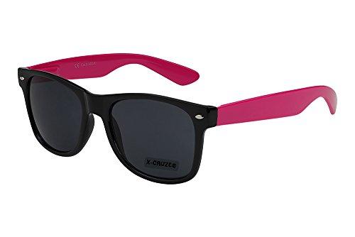 X-CRUZE® 8-082 X0 Nerd Sonnenbrille Retro Vintage Design Style Stil Unisex Herren Damen Männer Frauen Brille Nerdbrille - schwarz/pink