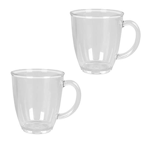 Polycarbonat Geschirr 2 Tassen 435 ml ideal für Camping Transparent wie Glas Design Kaffeetasse Kaffeebecher Trinkbecher Becher Henkel Campinggeschirr Picknick Teeglass modernes Outdoor 2 teilig Tasse
