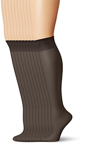L'eggs Everyday Knee Highs ST 10 Pair ONESIZE Black (10 Denier Schiere)