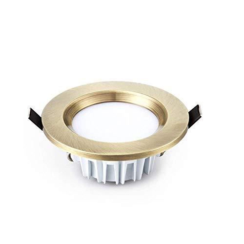 WPOLED 3er Pack 9W Retro Bronze Downlight LED ultradünne Aluminium Metall Deckenleuchte Einfachheit eingebettet europäische Klassische grüne Bronze Spotlight Embedded Lampe -