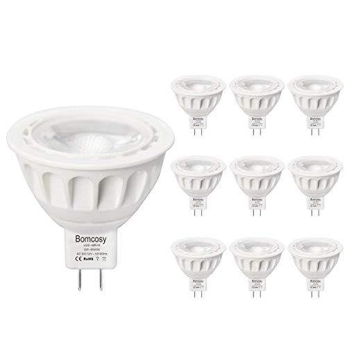 Bomcosy Lot de 10 Ampoule LED GU5.3 MR16 12V 5W 3000K Blanc Chaud 50W Halogène Spot équivalent 420LM Angle de Faisceau de 35° Non Dimmable