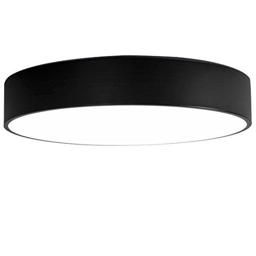 HONGOU LED Modern Rund Deckenleuchte Schwarz Eisen Industrie Deckenlampe Innen Für Wohnzimmer Schlafzimmer Arbeitszimmer Loft D40*9CM 24W Warmweiße Licht (Loft 9 Licht)