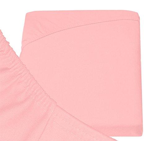 Double Jersey - Spannbettlaken 100% Baumwolle Jersey-Stretch bettlaken, Ultra Weich und Bügelfrei mit bis zu 30cm Stehghöhe, 160x200x30 Rosa - 6