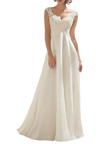 Baihuodress elegante v-collo abiti da sposa lungo chiffon appliques abiti nuziali