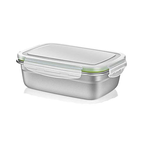 Edelstahl rechteckige Brotdose/Lunchbox Hochtemperatur- und Niedertemperaturkühlkinder Erwachsener mit Deckel Lebensmittelbehälter Silber,1800ML