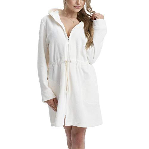 Aquarti Damen Morgenmantel mit Kapuze und Reißverschluss, Farbe: Ecru, Größe: 2XL