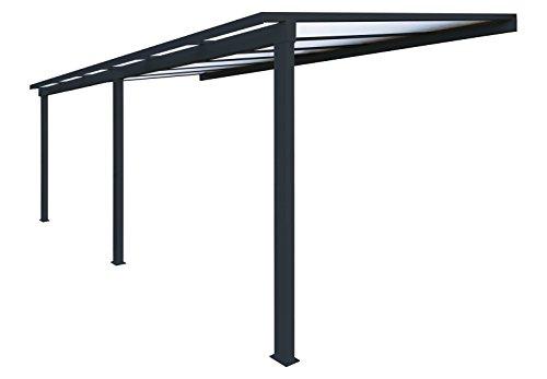 Pergola en aluminium classique adossée toiture en polycarbonate 16 mm avec gouttière - Gris - 6x3m