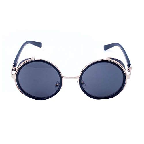 Junecat Männer Frauen Steampunk Metallrahmen Runde Objektiv Sonnenbrillen Kreis Sonnenbrillen UV400 Schutzbrille Erwachsene Außen Brillen