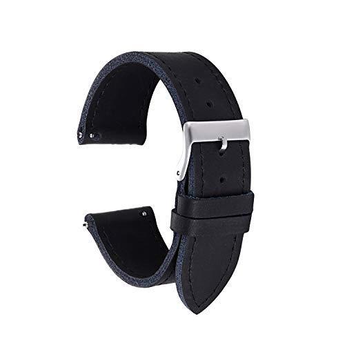 Straps Guy Uhrenarmband, 20 mm, 22 mm, Hochwertiges Leder, mit Schnellverschluss, minimalistisch, Unisex-Erwachsene, schwarz, 22 mm (Dass 1 Guy)