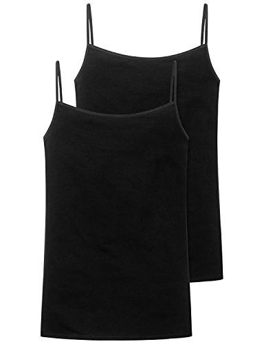 Schiesser Damen Spaghettitop (2er Pack) Unterhemd, schwarz 000, 36 (erPack 2