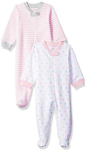 Amazon Essentials - Confezione da 2 tutine 'Sleep and Play, per neonati, Girl Heart, US 3-6M (EU 62-68)
