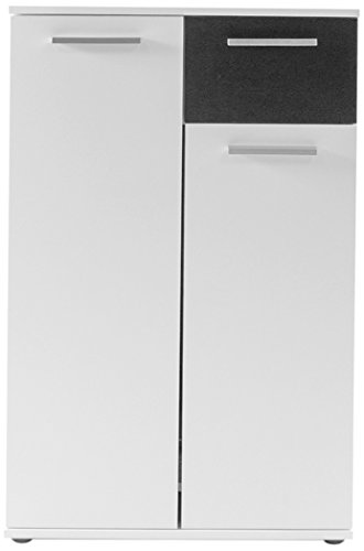 Homexperts Schuhkommode JUSTUS in Melamin Weiß / 2 Türen und Eine Schublade / Ideal zur Garderoben-Gestaltung und für Kleine Räume / Für ca. 15 Paar Schuhe / 60 x 102,6 x 30 cm (B x H x T) -