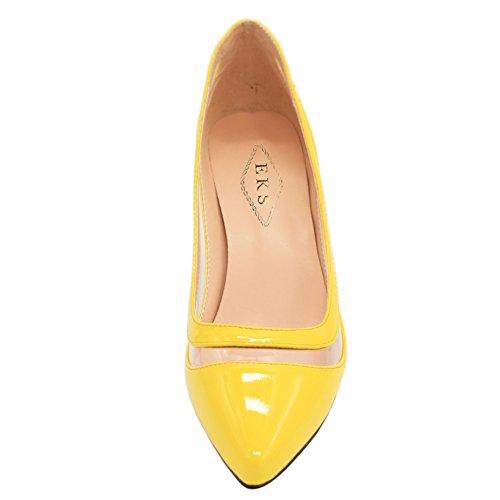 EKS Damen Lqoqop Solide Farbe Spitz Schuhe Comfrotable Low Heels Dress Pumps Gelb-Lackleder