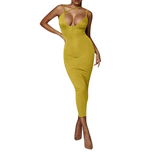 NNVNN Damen Sling Kleid Einfarbig Deep V Öffnen Sie Sich zurück Slim Fit Ballkleid Cocktailkleid