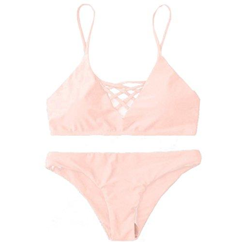 Ba Zha Hei Bademode Frauen Triangle Bikini Set Verband Push-Up Badeanzug Bade Beachwear Zweiteiliger Bikini aus Spitze Push Up Bandeau Neckholder Brustpolste Cups Strand Bademode (Rosa, M) (Cup Bandeau)