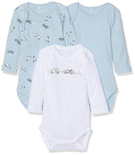 NAME IT NAME IT Baby-Jungen Strampler NBMBODY 3P LS NOOS, 3er Pack, Mehrfarbig (Blau Cashmere Blue), 50