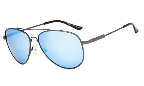 Eyekepper Bifokal Sonnenbrille-Polit Stil Sunglass mit Gedächtnis-Brücke und Arm lesen(Rotgussrahmen Blauer Spiegel, 2.00)