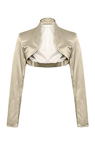 Elegante bolero a maniche lunghe in raso, taglie 343638404244, disponibilein colori Gold