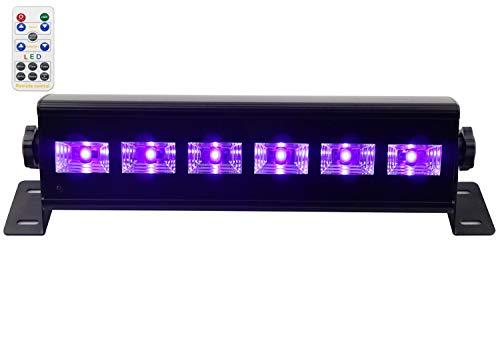 Uv luci del Palcoscenico, Latta Alvor UV Luce Effetto UV Luce Nera Par luci del Palcoscenico DMX 512 luci DJ per feste Luci da discoteca Controllo Remoto UV Luce Effetto stroboscopiche (6 led 18W)