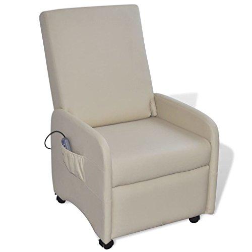 Lingjiushopping Elektrische Massage Sessel Lehnstuhl Kunstleder creme Farbe: Creme Material: Leder Künstliche