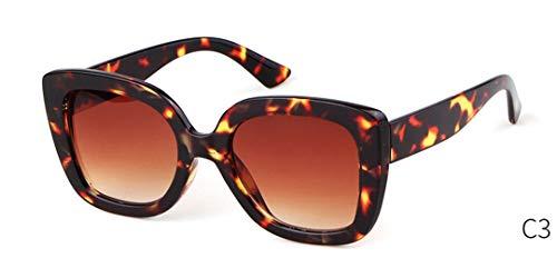 DAIYSNAFDN Retro Übergroße Sonnenbrille Frauen Designer Vintage Yellow Leopard Big Frame Eyewear C3