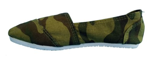 Espadrilles, toe stitched canvas flats/pumps/beach shoes - green camoflauge (child 2.5 uk)