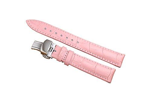 reloj de cuero de reemplazo de la correa de banda de cocodrilo de grano de 18 mm de color rosa de las mujeres decentes de lujo genuina piel de ternera