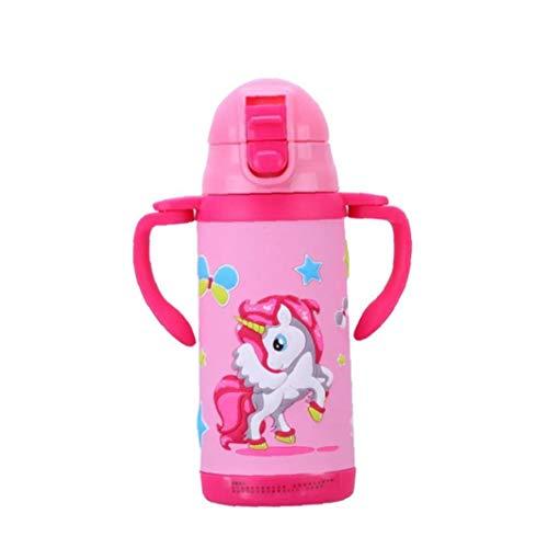 Bottiglia 360ml unicorn per ragazze in acciaio inossidabile thermos con paglia silicone eco friendly bottiglia di vuoto isolato per outdoor school