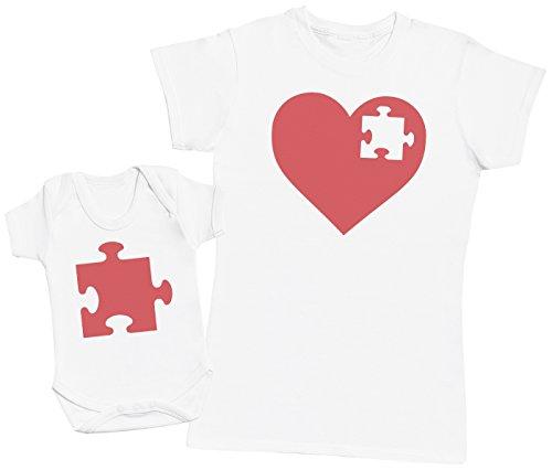 Zarlivia Clothing Heart and Puzzle Piece - Regalo para Madres y bebés en un Body para bebés y una Camiseta de Mujer a Juego - Blanco - Small & 0 Meses