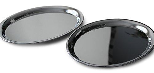 2x Gastro Tablett 26x20cm oval Kellner Serviertablett Gläsertablett Kaffeehaus Servierplatte Tassentablett chrome (Metall-tablett-set)