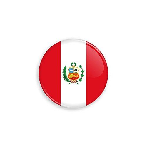 Button mit Peru Flagge als Anstecker mit Nadel oder Magnet als Auswahl, 38 mm Durchmesser – Für Fußball WM, Themen Partys und Feiern oder als Geschenk - Nadel